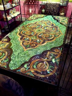 Mosiac Kitchen Table Beautifully Ornate And Colorful. Nice For A Small Table,  Stool Or Mirror Too