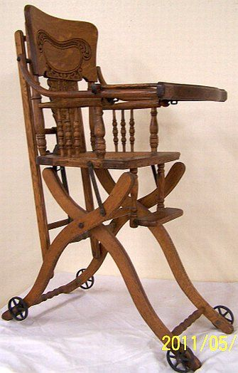 High Chair...The earliest surviving examples date from the 1780s onward and come apart into a separate chair and table. This design was extremely successful, and was still being made into at least the 1850s.