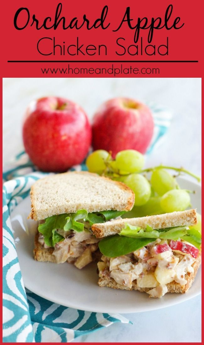 Orchard Apple Chicken Salad | http://www.homeandplate.com | Whip up a delicious lunch of rotisserie chicken, orchard apples and nutty pecans in this homemade orchard apple chicken salad.