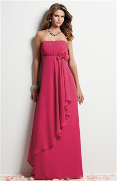 Bias Draped Empire Dress with Flower Detail Style Code: 08349 $92