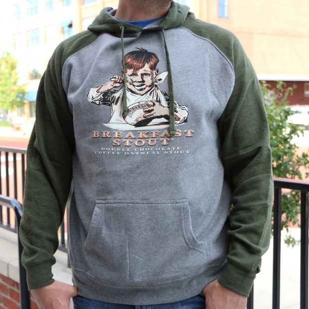 Founders Breakfast Stout Hoodie - Two Tone with gray body and green sleeves