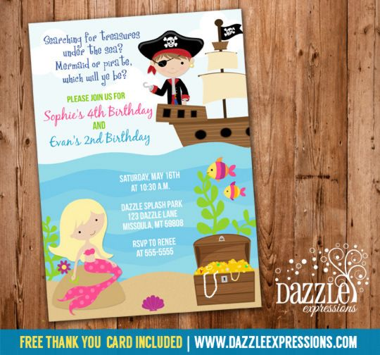printable mermaid and pirate birthday invitation