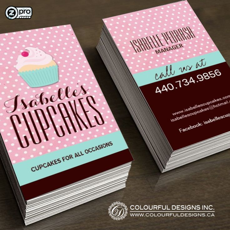Whimsical and Cute Customizable Cupcake Bakery Business Cards designed by Colourful Designs Inc.