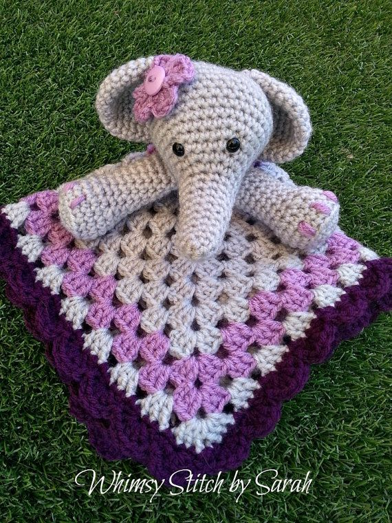Elephant Lovey or Security Blanket  Made to by Whimsystitchbysarah, $30.00