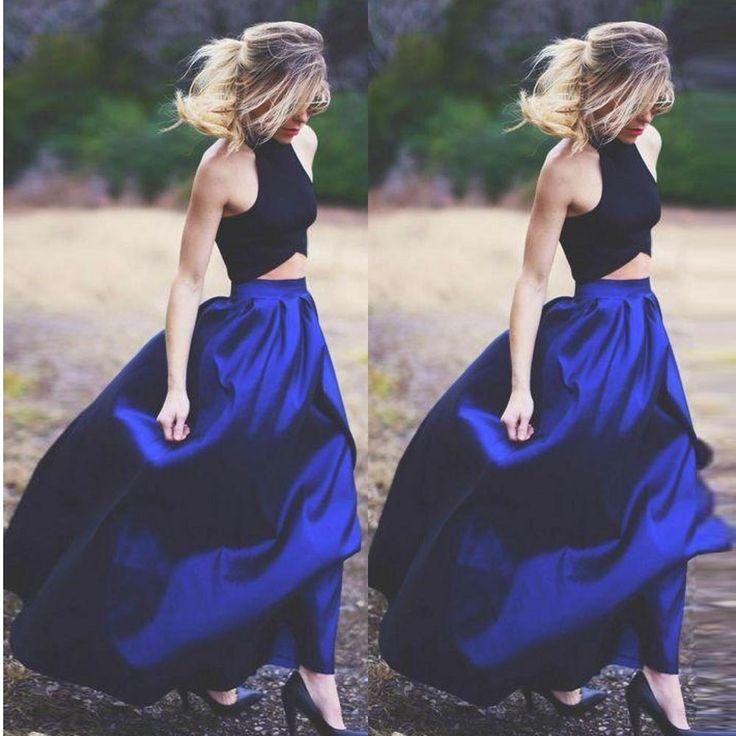 Marka Yeni Moda Zarif Yüksek Bel Mavi Kat Uzunluk Sonbahar TuTu Etekler Üzerinde Kadın Amerikan Giyim XXS-7XL Boyutu Uzun Etek