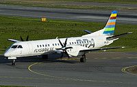 Braathens Regional Saab 2000 SE-LXK aircrasft, skating at Sweden Stockholm Bromma Airport. 22/05/2016.