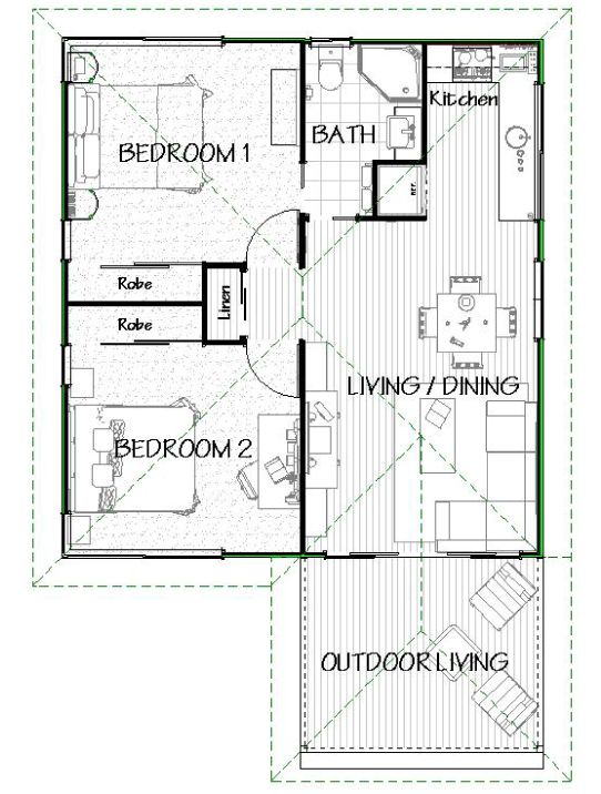 This A Popular Two Bedroom Design With Open Plan Living And Dining Areas Tiny Modular Homes