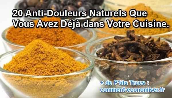 Saviez-vous que certains ingrédients de votre cuisine sont des anti-douleurs efficaces qui peuvent remplacer les médicaments ?  Découvrez l'astuce ici : http://www.comment-economiser.fr/remedes-naturels-dans-cuisine.html?utm_content=buffer1d3da&utm_medium=social&utm_source=pinterest.com&utm_campaign=buffer