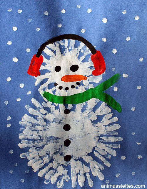 Faites un joli bonhomme de neige avec la peinture à doigt!  C'est une chouette façon de parler du thème de l'hiver!