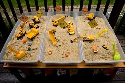 Great Idea- So nice to have the lid to close and to be able to move it!!Portable construction sand box! Underbed storage will be the boys new sandbox that I can close with a lid!