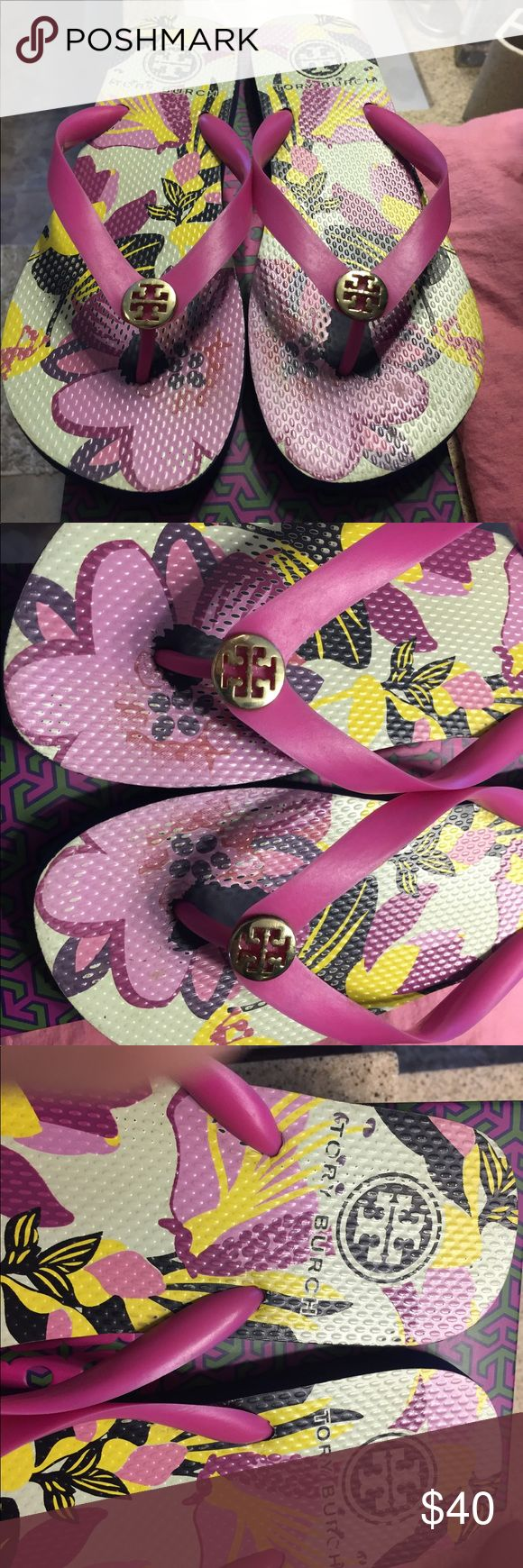 Excellent condition Tory Burch flip flops! Excellent condition Tory Burch flip flops! Size 9 and work only once these flip flops are a must have for the summer and fall! Gold Tory logo on the front and T symbol cover the bottom of the shoes so you never go out of style! Happy shopping xoxo Tory Burch Shoes Sandals