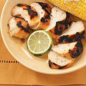 Margarita Chicken  1 can (10 ounces) frozen non-alcoholic margarita mix, thawed  3 tablespoons lime juice  3 garlic cloves, minced  4 boneless skinless chicken breast halves (6 ounces each)  1/4 teaspoon salt  1/4 teaspoon pepper