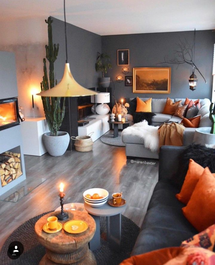 I Love The Dark Gray Walls With The Orange Accents Brightness Up