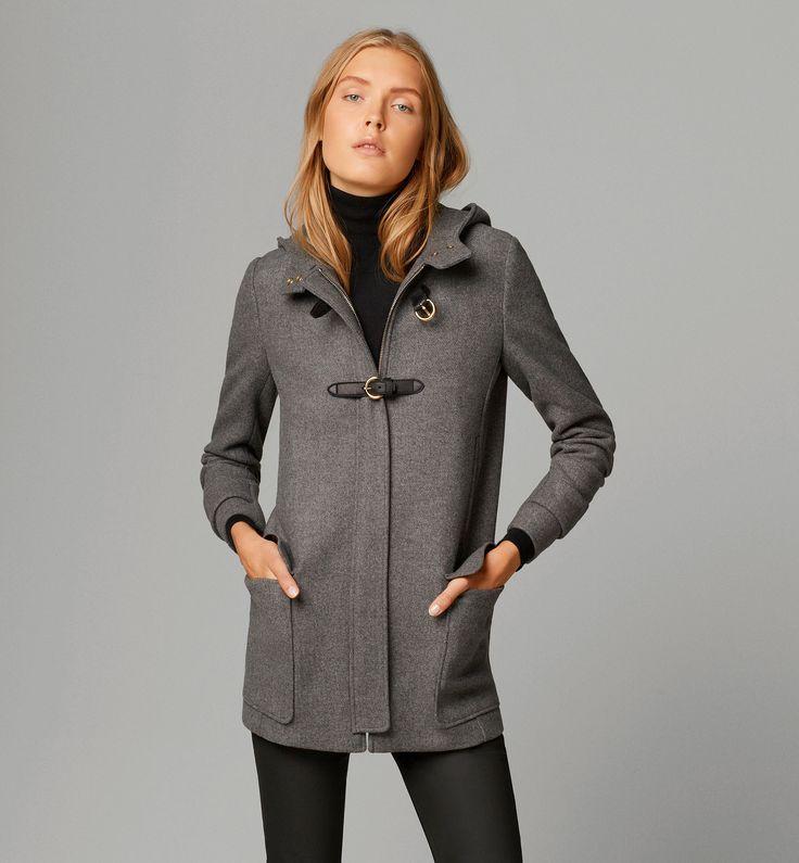 Tabulous Design- Beautiful grey Duffel Coat for ladies with black leather trim.