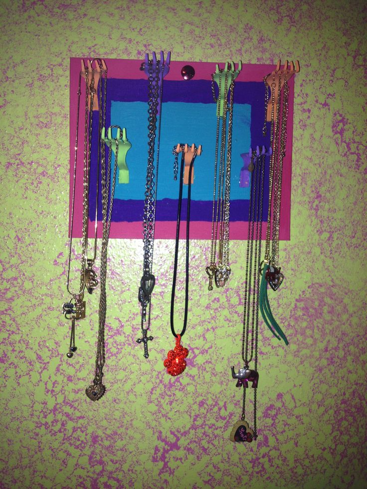 Necklace holder made out of a canvas and plastic spoons p