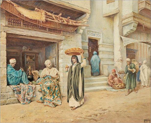 street-scene,Cairo-by-Vittorio-Rappini