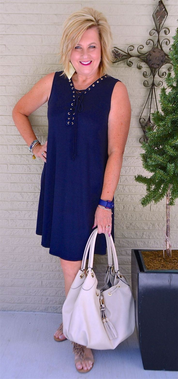 50 IS NOT OLD | GROMMETS ON A DRESS | Navy | Casual and Comfortable | Fashion over 40 for the everyday woman