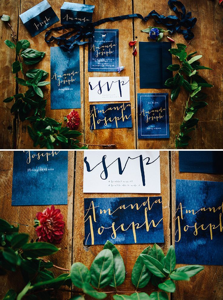 Cobalt blue and gold watercolour wedding invitation suite | Peppermint Photography | See more: http://theweddingplaybook.com/whimsical-wedding-inspiration-in-shades-of-blue/
