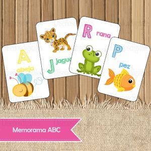 Memorama de Abecedario para Imprimir - ABC para Niños