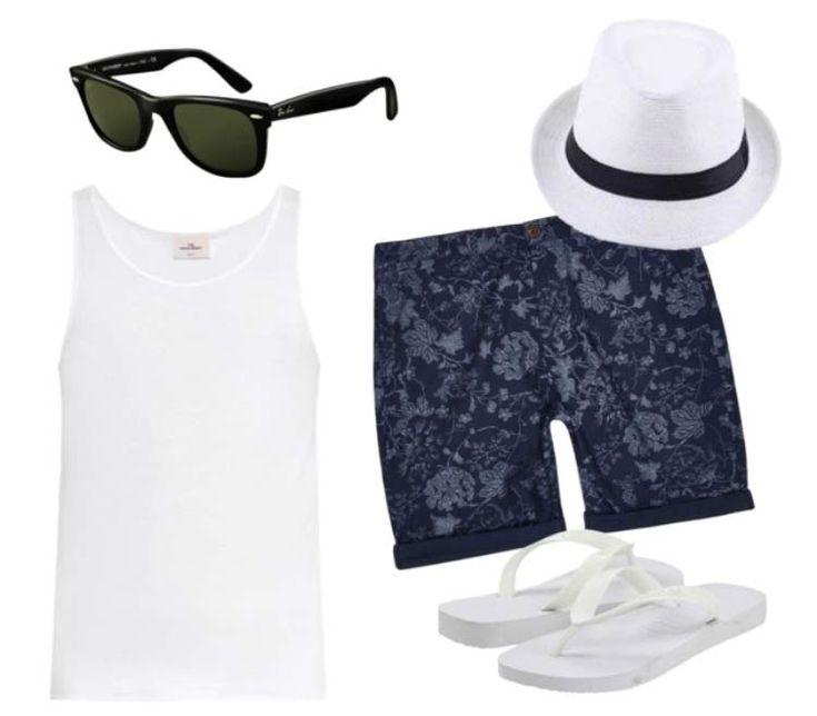 regata com chapéu panamá caiu bem com bermuda floral alta neste verão