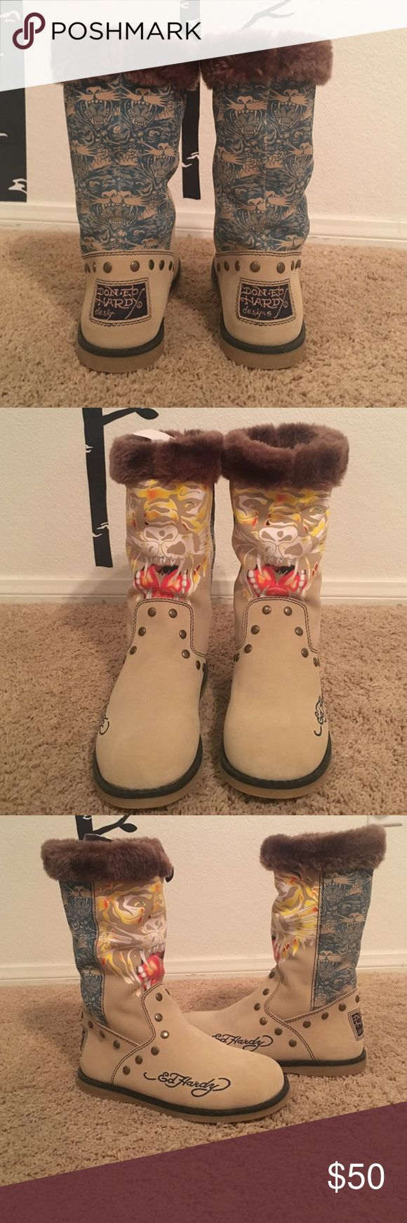 ❗️BRAND NEW Ed Hardy High Boots Ed hardy furry boots. Brand new never worn. MAKE AN OFFER Ed Hardy Shoes Winter & Rain Boots