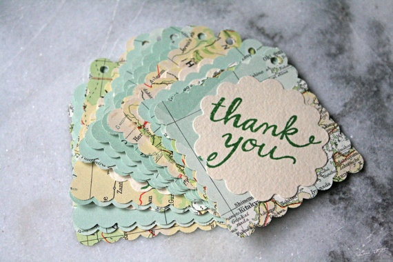 Map favor tags, layered vintage atlas design, thank you message, set of 100.  Perfect for travel theme party or destination wedding.