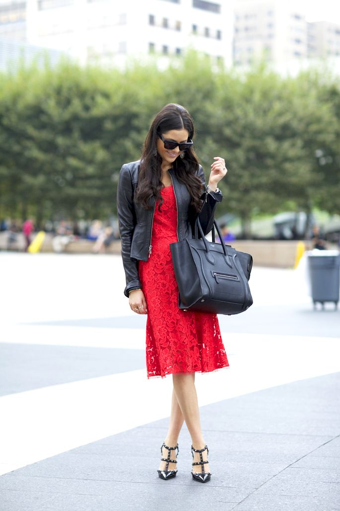 The lace dress is a trend, and what better way to wear it than in bright red? Rachel Parcell stuns us in this classic scarlet lace dress with floral detailing. Jacket/Dress: Nanette Lepore, Heels: Valentin, Bag: Celine.
