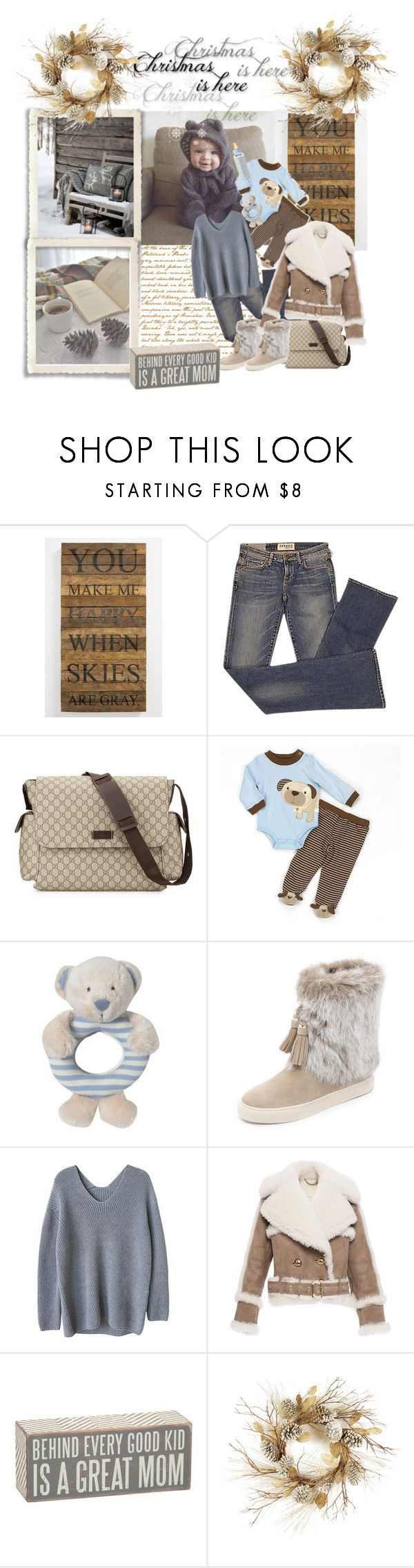 """""""Baby Christmas time !"""" by cool-cute ❤ liked on Polyvore featuring Second Nature By Hand, Elizabeth and James, Gucci, Equipment, Tory Burch, Burberry, Primitives By Kathy, Thos. Baker, Winter and Baby"""
