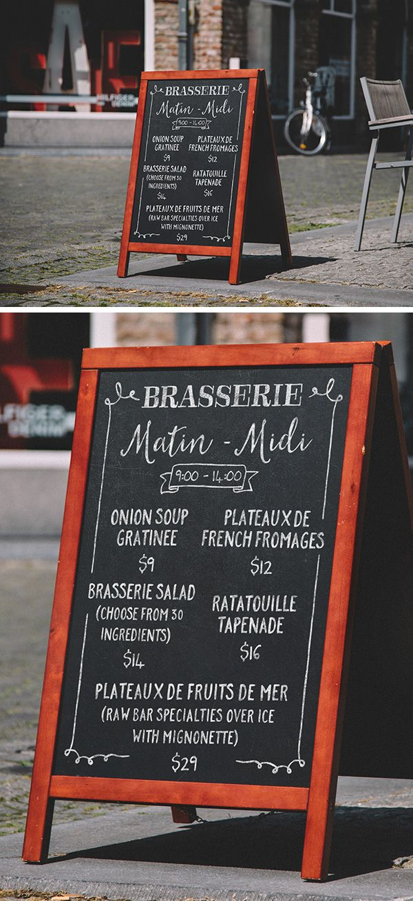High resolution A-Frame Chalkboard Menu PSD MockUp. Create a realistic…