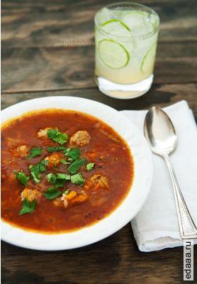 фото Мексиканский суп с фрикадельками