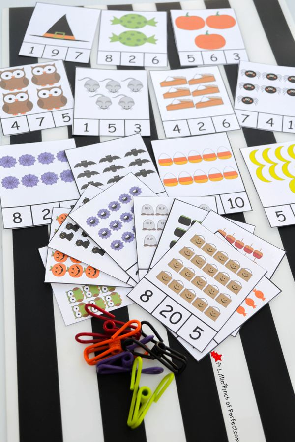 This month we have been using Halloween themed clip cards to help master counting, number recognition, and subitizing. The kids love using clip cards because it feels like a game to them and clipping the cards is perfect for strengthening hands and fine motor skills! Halloween Clip Cards: Numbers 1-20 Pin me please!  The …