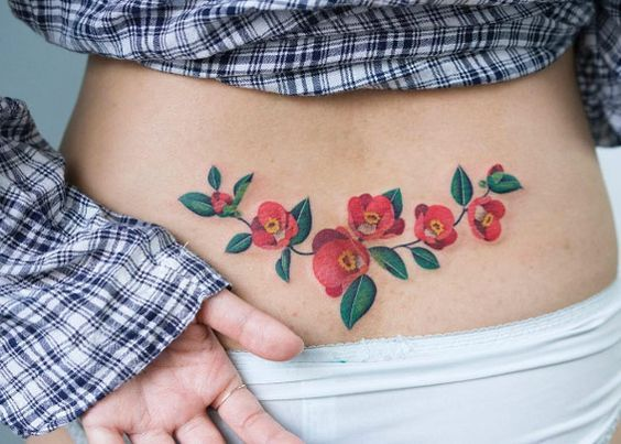 Floral Tattoos on Lower Back