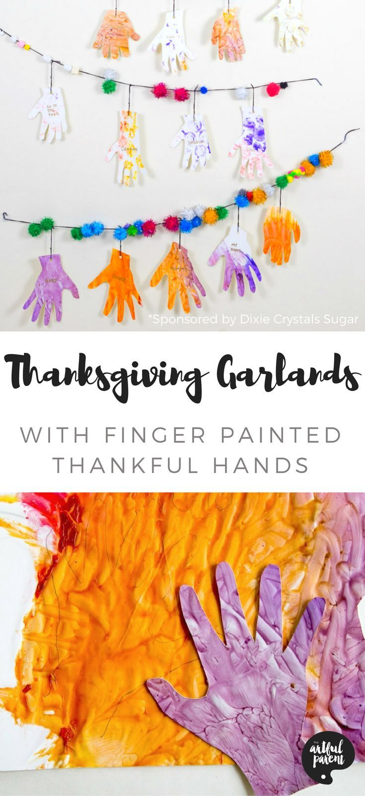 Thanksgiving garlands are a great way for kids to celebrate what they are thankful for. Finger painted hand tracings are paired with festive pom pom garlands.
