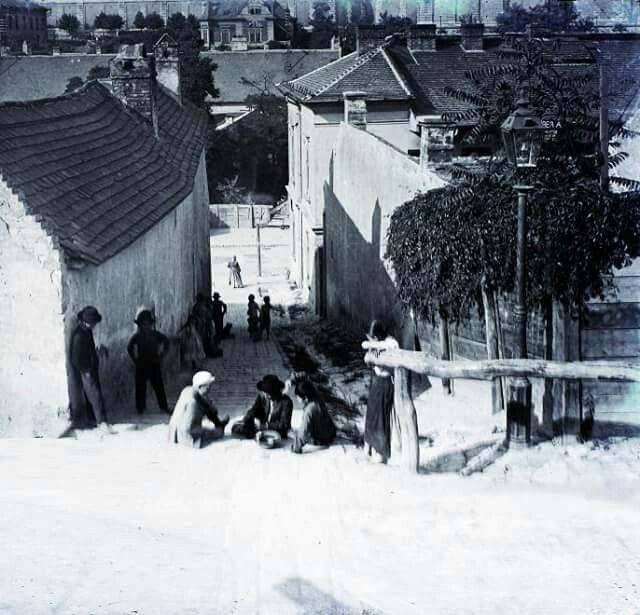 1910. Tabán, Pásztor lépcső. A Gellérthegy utcáról  az Árok utca felé nézve.