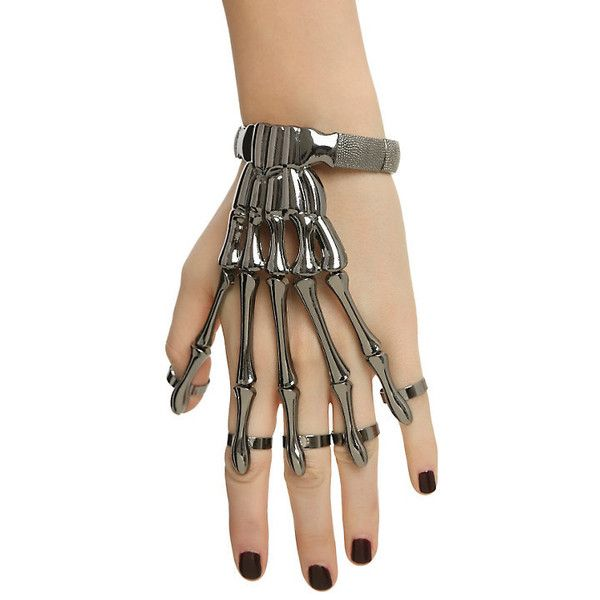 Skeleton Hand Ring Bracelet Hot Topic ($5.20) ❤ liked on Polyvore featuring jewelry, metal jewelry and skeleton jewelry
