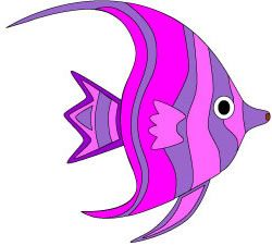 Tropical Fish Clip Art | Pink and purple tropical fish clip art in two sizes.