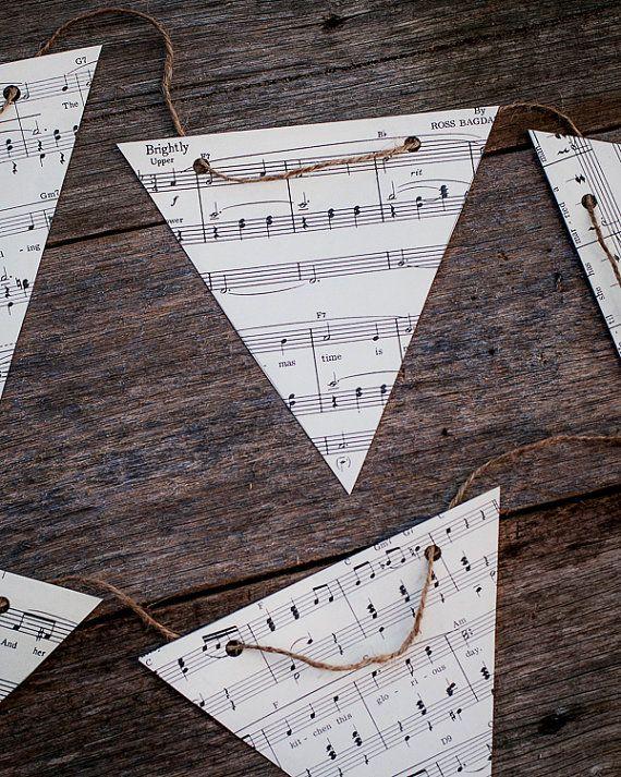 vintage music decoration  DIY paper bunting by VintageAndNostalgia, $19.95