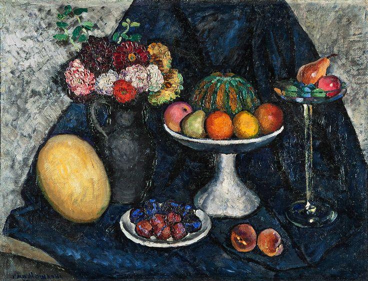 Илья Машков. Натюрморт с георгинами и фруктами. (1915-1916).