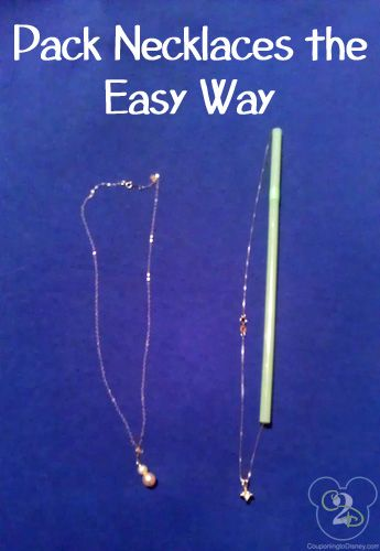 How to pack necklaces so they don't get tangled together.