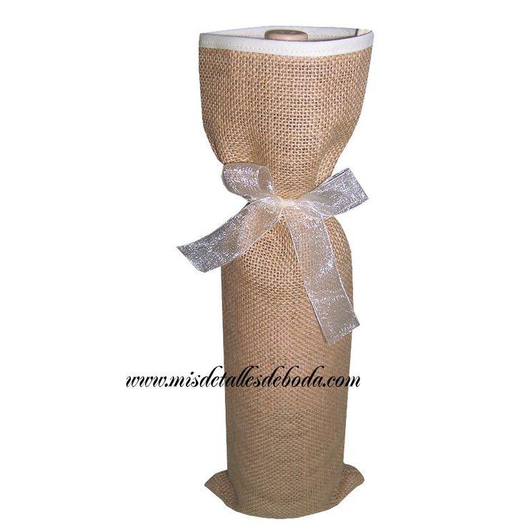bolsa para botella con borde de cinta beige