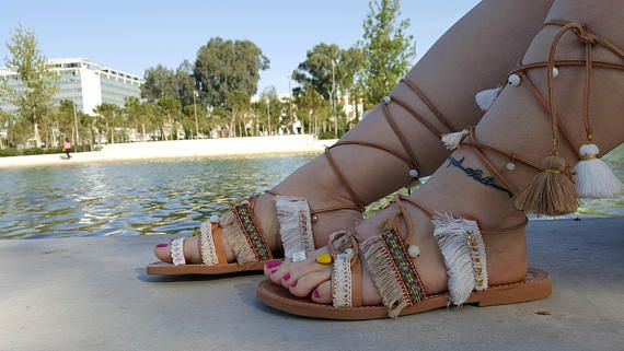 Boho Sandals Greek Sandals Leather Sandals Lace up Sandals