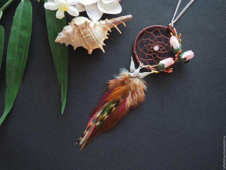 Кулон с перьями - Весеннее пробуждение, ловец снов, коричневый - коричневый, бежевый, перья, перо