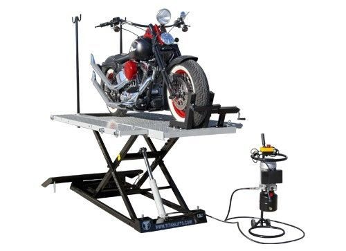 New Titan 1500 LB XLT Electric & Hydraulic Motorcycle Lift with Vise & Side Ext. #Titan