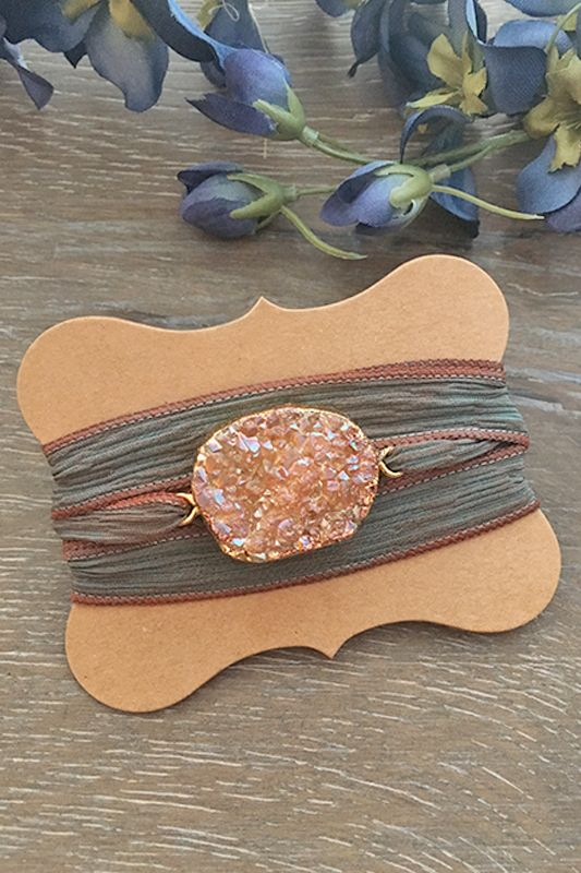 Beautifully handmade by Indie Rockin Jewelry, these silk sari druzy wrap bracelets compliment any outfit, day or night!                                                                                                                                                     More