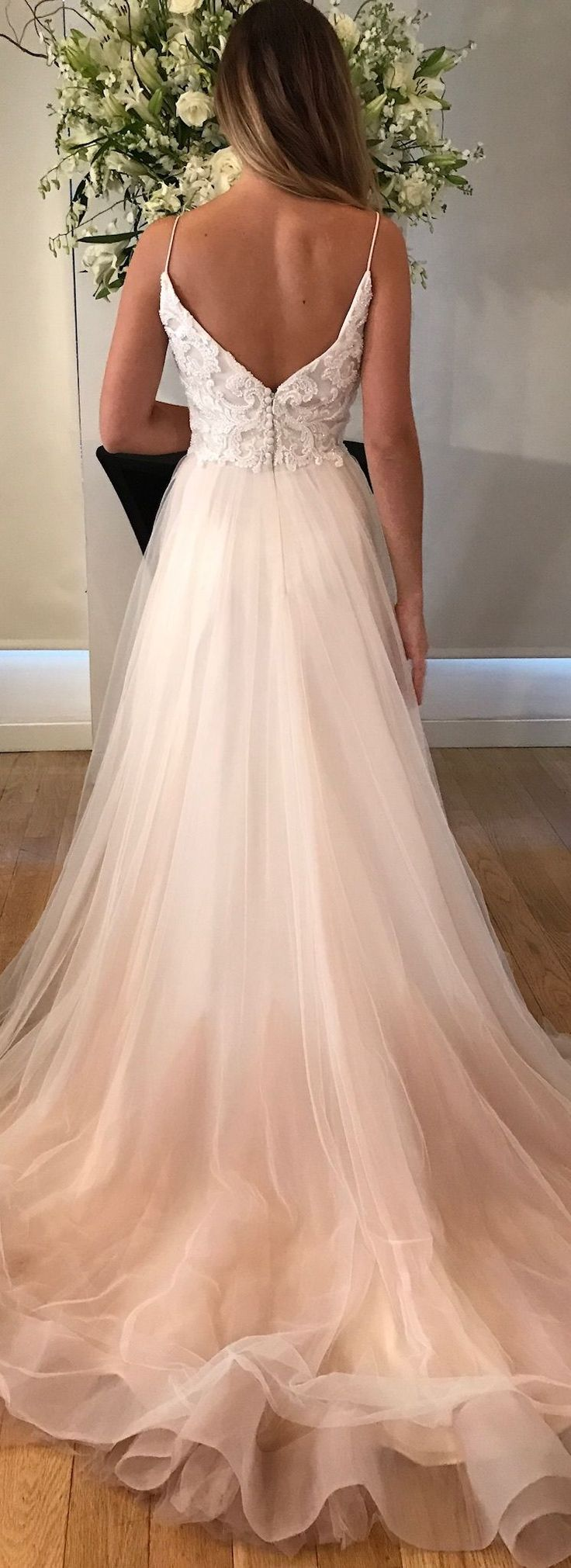 Star wedding dress by Kelly Faetanini in Blush // Pearlescent embroidered v-neck blush tulle ombre ball gown with horsehair hem