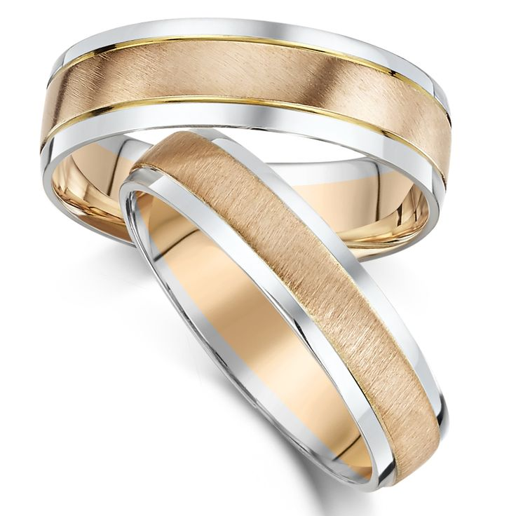 His Hers 5 6mm 9ct Rose White Gold Wedding Ring 2 Colour