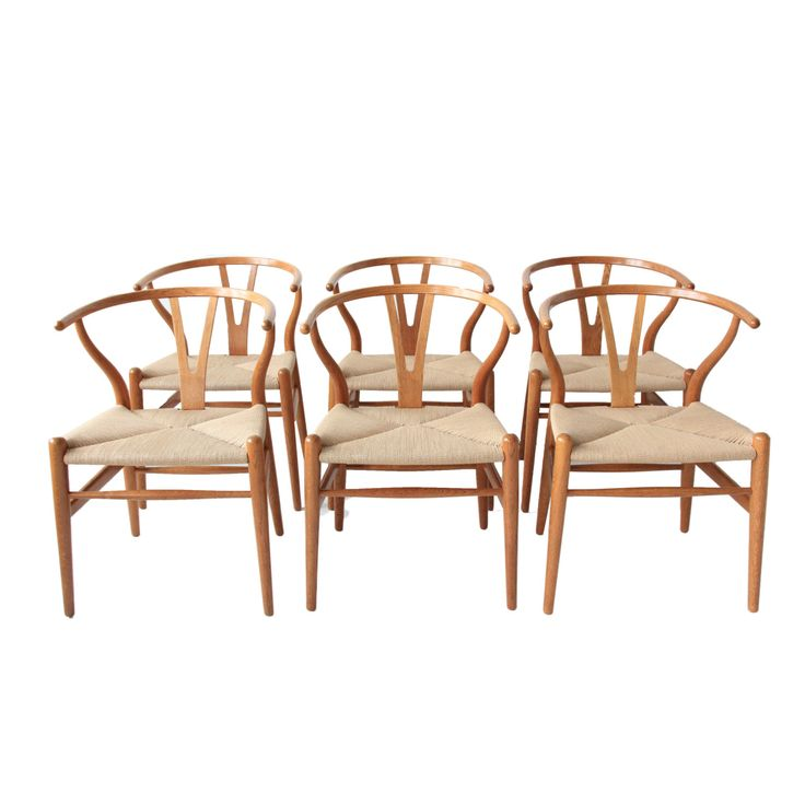Vintage Hans Wegner Wishbone Chairs - Set of 6 by at1stsight on Etsy https://www.etsy.com/listing/243789010/vintage-hans-wegner-wishbone-chairs-set