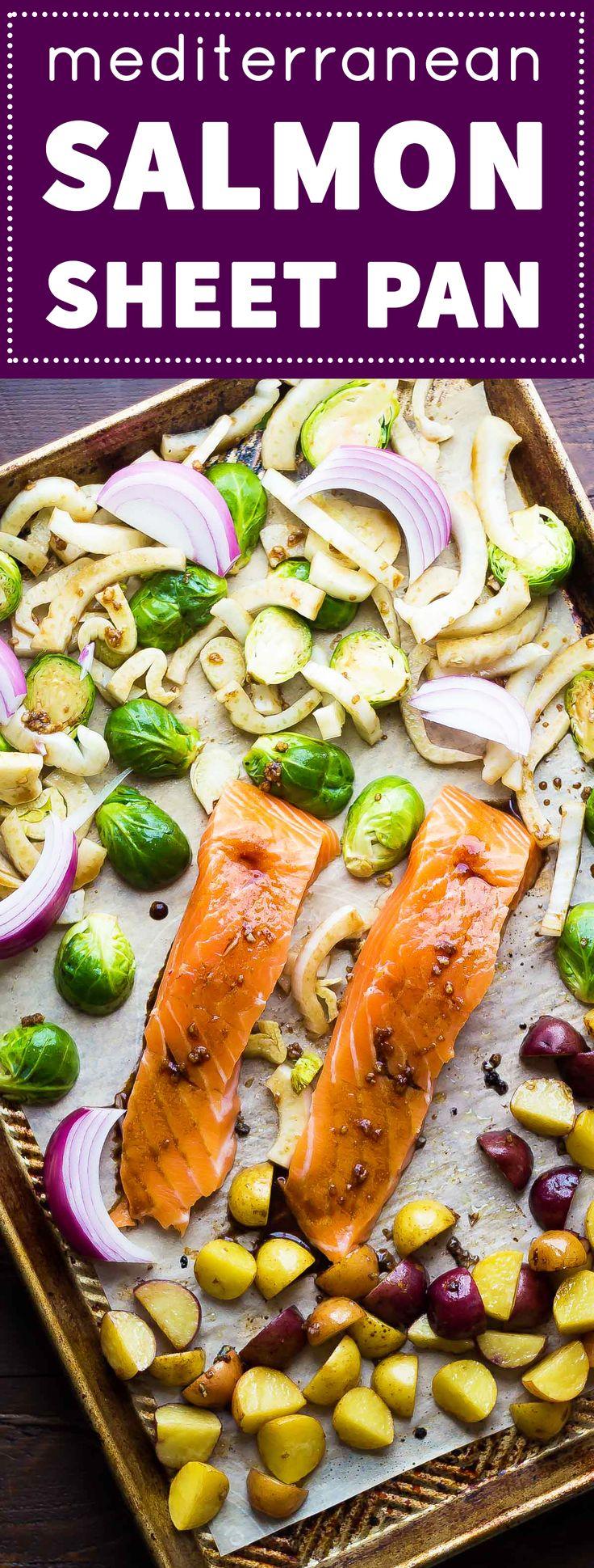 This Mediterranean Salmon Sheet Pan Dinner is ready in under 30 minutes!