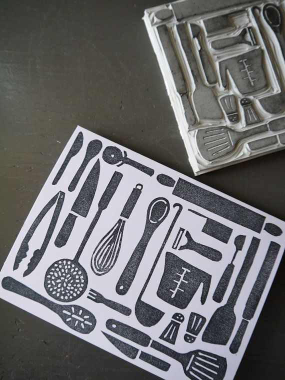 Kitchen Utensils Collage Block Print Card // by atiliay