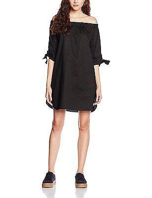 14 (Manufacturer Size:L), Black, New Look Women's Poplin Tie Sleeve Bardot Dress